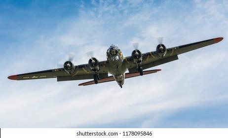 YPSILANTI, MICHIGAN / USA - August 25, 2018: A World War II era B-17 Flying Fortress at the 2018 Thunder Over Michigan Airshow.