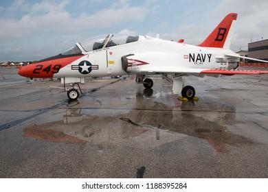 YPSILANTI, MICHIGAN / USA - August 26, 2018: A United States Navy T-45 Goshawk on display at the 2018 Thunder Over Michigan airshow.
