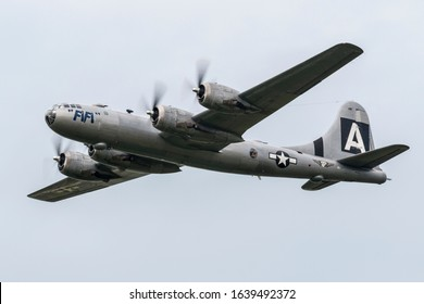 YPSILANTI, MICHIGAN / USA - August 29, 2015: A World War II era B-29 Superfortress, nicknamed 'Fifi', performs at the 2015 Thunder Over Michigan Airshow.