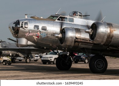 YPSILANTI, MICHIGAN / USA - August 29, 2015: A World War II era B-17 Flying Fortress at the 2015 Thunder Over Michigan Airshow.
