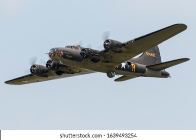 YPSILANTI, MICHIGAN / USA - August 29, 2015: A World War II era B-17 Flying Fortress at the 2015 Thunder Over Michigan Airshow.