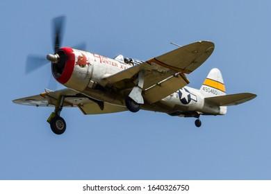 Ypsilanti, Michigan / USA - August 4, 2012: World War II era P-47 Thunderbolt at the 2012 Thunder Over Michigan Airshow.