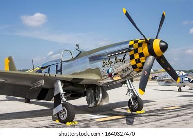 Ypsilanti, Michigan / USA - August 4, 2012: A World War II era P-51 Mustang at the 2012 Thunder Over Michigan Airshow.