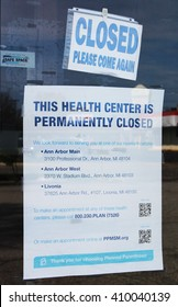 YPSILANTI, MI/USA: APRIL 19, 2016 - Closed and abandoned Planned Parenthood building. PPFA is the largest single provider of reproductive health services including abortion in the United States.