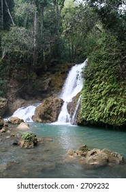 YS River Waterfall in the jungle of Jamaica.