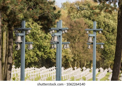 Ysselsteyn, Noord-Limburg / Netherlands - October 27 2013: Bells and a carillion at German military cemetery