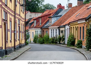 Ystad, Sweden - 7 June 2017: Typical street in the small town of Ystad in Southern Sweden. This street is named Lilla Västergatan.