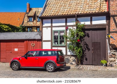 YSTAD, SWEDEN - AUGUST  13, 2014: Cityscape of Ystad. City founded in 11th century is a busy ferry port and the place of action of well-known novels by Henning Mankell with detective Wallander.