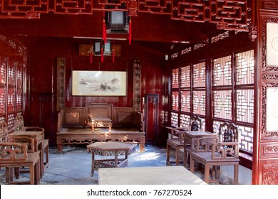 Yu Garden, Shanghai - 16 Dec 2017: A public show display of an old traditional architecture of Chinese home.