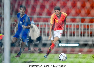 Yu Hai No.21 of China in action during 2018The International Friendly Match between Thailand and China at the Rajamangala Stadium on June 2, 2018 in Bangkok,Thailand,