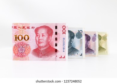 Yuan banknotes from China's currency, Chinese banknote of 100, 10, 5 and 1 isolated on white background