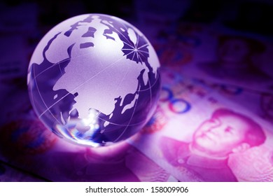Yuan and Earth planet,Transparent globe for background