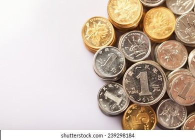 Yuan notes from China's currency. Chinese banknotes. Chinese coins