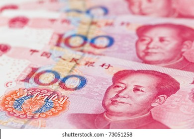 Yuan notes from China's currency. Chinese banknotes.