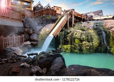 Yubatake Hotspring in the middle of Kusatsu Onsen town in Gunma, Japan