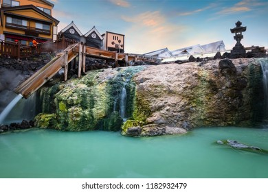 Yubatake Hotspring in the middle of Kusatsu Onsen town in Gunma  ,Japan