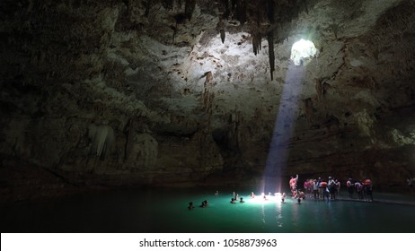 YUCATAN, MEXICO - July 2015: Suy Tun, one of the countless cenotes on Yucatan peninsula. Cenotes ( sinkholes ) are natural pools created by collapse of limestone bedrock above the water level