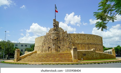 Yucatan, Mexico, July 21. Panoramic View of the Monument to the homeland (Monumento a la Patria) built by the Colombian artist Rómulo Rozo Peña, located on the famous Paseo de Montejo Avenue in Merida