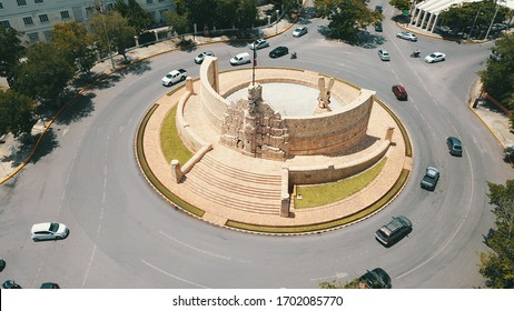 Yucatan, Mexico, July 21-2019. Aerial view of the Monument to the homeland (Monumento a la Patria) built by the Colombian artist Rómulo Rozo Peña, on the famous Paseo de Montejo Avenue in Merida