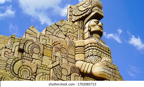 Yucatan, Mexico, July 21-2019. Close up lateral view of the Monument to the homeland (Monumento a la Patria) built by the Colombian artist Rómulo Rozo, located on the famous Paseo de Montejo Avenue