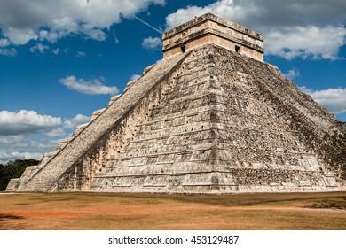 Yucatan, Mexico -  Kukulcan Temple at Chichen Itza