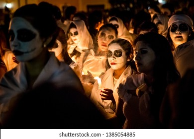 Yucatan, Mexico - October 30, 2014: Dia de los Muertos or Day of the Dead celebration. The holiday celebrated throughout Mexico, America