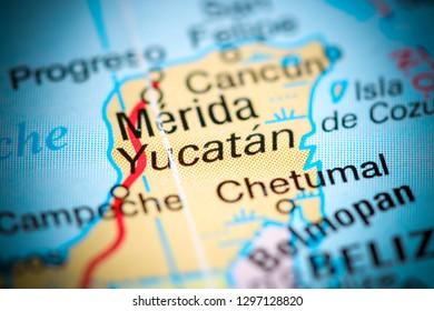 Yucatan. Mexico on a map