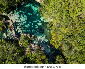 Yucatan, Quintana Roo, Mexico, January 15, 2018: Cenote Azul in the jungle aerial view. People swim in clear water in a cenote that is in the jungle. Top View