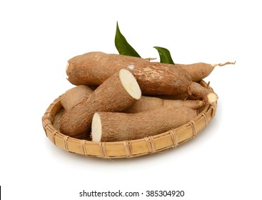 yucca (cassava) root isolated on white