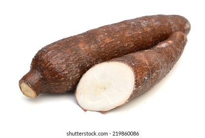 Yucca cassava roots, isolated on white