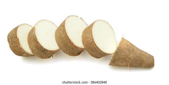 yucca cassava vegetables on white background
