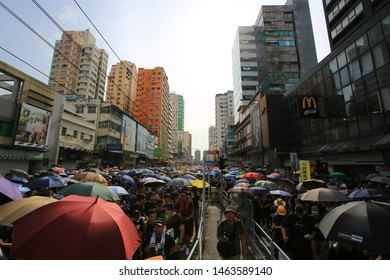 Yuen Long/Hong Kong- July 27 2019: the protesters occupied the main road. gangsters attack the people in the train station on july 20, which led more protest to against the gangsters and government.