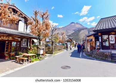 Yufuin, Japan - MARCH 14, 2019: Yufuin Village with Mt. Yufu in the Background During Autumn