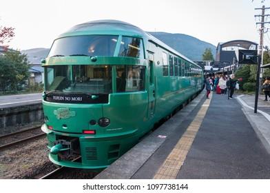 Yufuin, Japan - November 05, 2016: Picture of Yufuin No Mori at Yufuin Station, a luxurious express train that travels in Kyushu between Fukuoka (Hakata station) – Yufuin and Beppu.