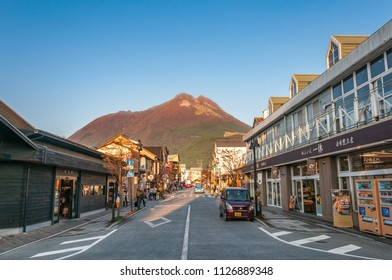 Yufuin, Japan - November 05, 2016: A view of Main shopping street Yufuin, a popular hot spring resort, located about ten kilometers inland from Beppu.