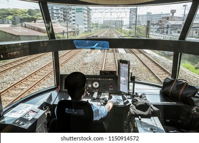 Yufuin no Mori express train's engine driver view in Japan