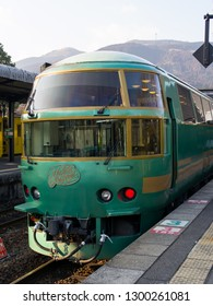 YUFUIN, OITA, JAPAN - JANUARY 18, 2015 : Yufuin no Mori train at Yufuin Station. It is limited express train services run from Hakata to Yufuin. Famous train journey in Japan. Asia.
