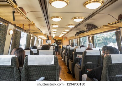 Yufuin,Oita,Kyushu,Japan - October 14, 2018 :Yufuin No Mori train, limited express train, route between Hakata station to Yufuin station