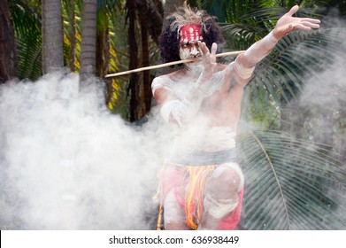 Yugambeh Aboriginal warrior dance during Aboriginal culture show in Queensland, Australia.