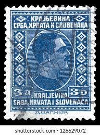"YUGOSLAVIA - CIRCA 1926: A stamp printed in Yugoslavia (Kingdom Serbia, Croatia and Slavonia) shows portrait of King Alexander I of Yugoslavia, w/o inscriptions, series ""King Alexander I"", circa 1926"