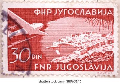 YUGOSLAVIA - CIRCA 1947: A stamp printed in Yugoslavia shows image of an airplane, series, circa 1947