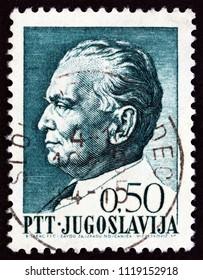 YUGOSLAVIA - CIRCA 1967: A stamp printed in Yugoslavia issued for Tito's 75th birthday shows President Tito, circa 1967.