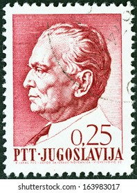 YUGOSLAVIA - CIRCA 1967: A stamp printed in Yugoslavia issued for Tito's 75th birthday shows President Tito, circa 1967.