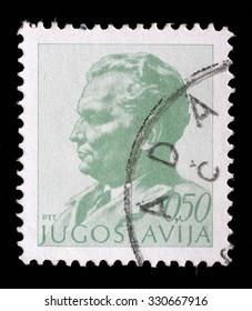 YUGOSLAVIA - CIRCA 1974: A stamp printed in Yugoslavia shows portrait of Marshal Josip Broz Tito, circa 1974