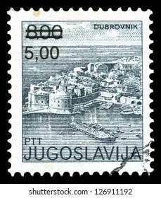 "YUGOSLAVIA - CIRCA 1980: A stamp printed in Yugoslavia shows city views of Dubrovnik, with the same inscription, from series ""Yugoslavia city views "", circa 1980"