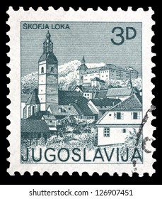 "YUGOSLAVIA - CIRCA 1982: A stamp printed in Yugoslavia shows city views of Skofja Loka, with the same inscription, from series ""Yugoslavia city views "", circa 1982"