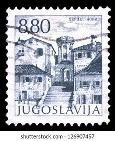 "YUGOSLAVIA - CIRCA 1982: A stamp printed in Yugoslavia shows city views of Hercegnovi, with the same inscription, from series ""Yugoslavia city views "", circa 1982"