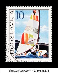 YUGOSLAVIA - CIRCA 1985 : Cancelled postage stamp printed by Yugoslavia, that shows Sailing boat, circa 1985.
