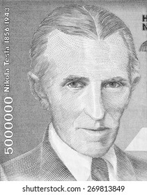 YUGOSLAVIA - CIRCA 1993: Nicola Tesla on 5000000 dinars 1993 banknote from Yugoslavia. Best known as the Father of Physics.