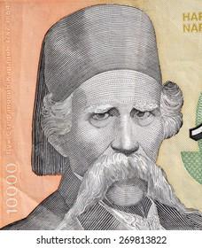 YUGOSLAVIA - CIRCA 1993: Vuc Stefanovic Karadzic on 10000 Dinara 1993 Banknote from Yugoslavia. Serbian linguist and major reformer of the Serbian language.